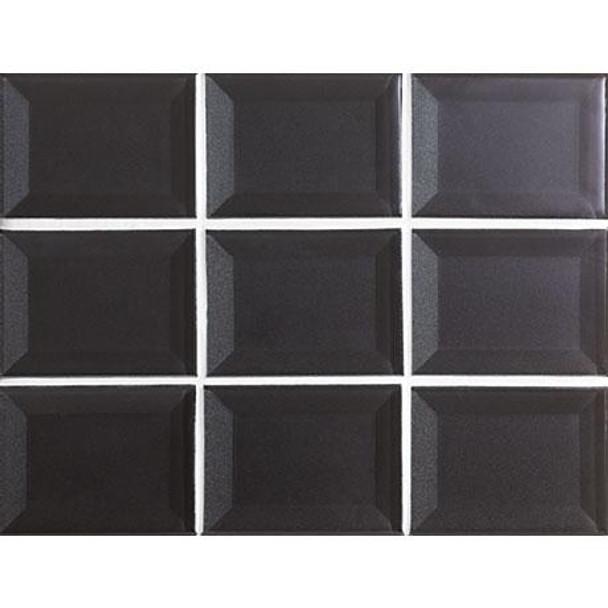 Marazzi - Luminescence LM15 Charcoal - 3 X 4 Beveled Glass Mosaic - Sample