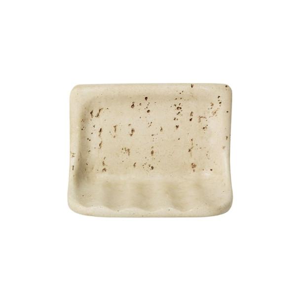 Manufacturer: American Olean, Item: BA725 Soap Dish, Color: Light Travertine, Series: Resin FauxStone Bath Accessory