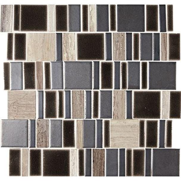 "Marazzi Midpark Mosaics - MP10 Shadow - 2"" X Random Square Interlocking Glazed Porcelain & Stone Mosaic Tile - Sample"