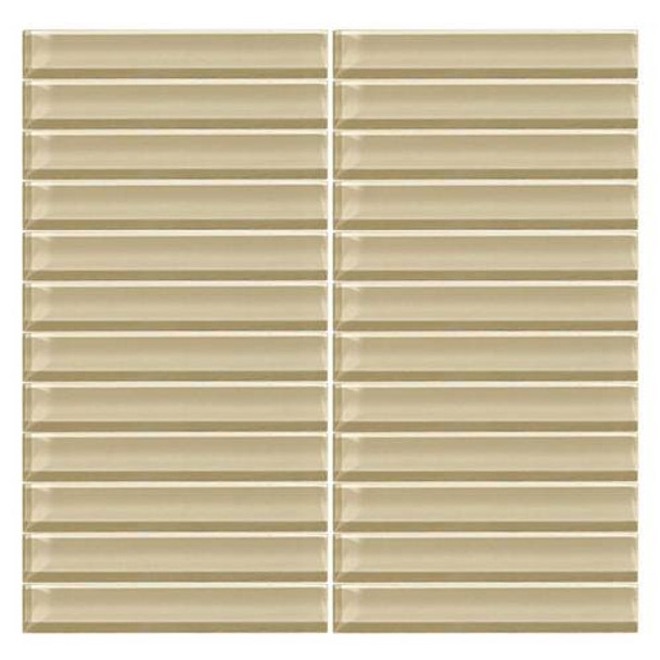 Daltile Color Wave Glass - CW06 Tango Tan  - 1 X 6 Straight Joint Dal Tile Glass Mosaic Tile - Glossy - Sample