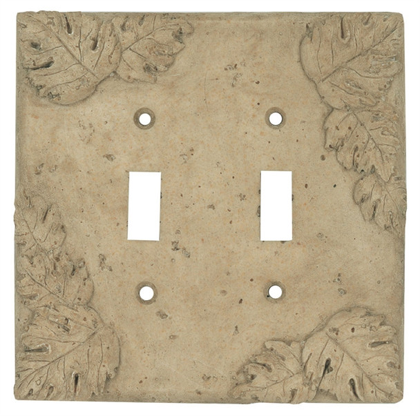 Resin Travertine Faux Stone Wall Switch Plate Outlet Cover - Double Toggle Switch - Leaves - Dark Travertine Color - $6.99