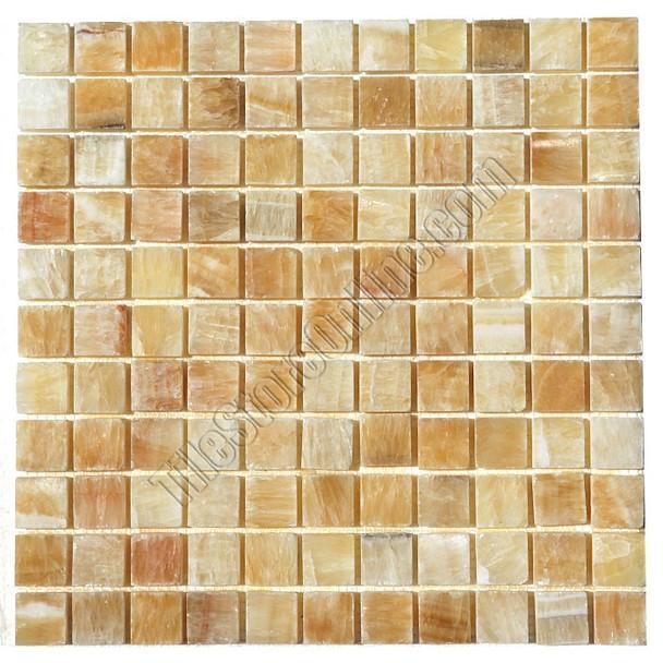 Type: Stone Mosaic, Series: Polished Onyx Mosaic, Color: Honey Onyx, Category: Natural Stone Mosaics, Size: 1X1