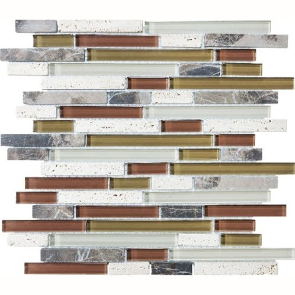 Eclipse Merlot Linear Glass and Stone Mosaic Tile - Strip Sticks of Emperador Dark Marble, Travertine, and Glossy Glass Tile * SAMPLE *