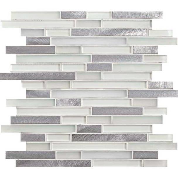 American Olean Morello - MM01 Quartz - 5/8 X Linear Glass and Aluminum Metal Tile Strip Stick Mosaic * SAMPLE *