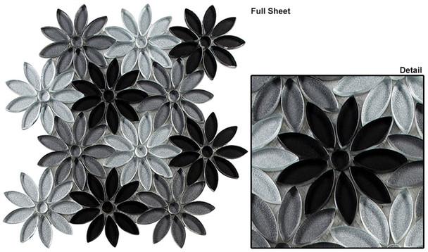 Bouquette - BQT-671 Floral Grays - Flower Pattern Mix of Glass, Stone, & Metal Mosaic Tile