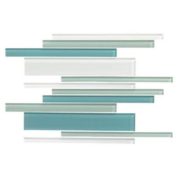 American Olean Color Appeal Glass Blends - C128 Sea Pearl Blend - Random Interlocking Linear Glass Tile Mosaic - Glossy - Sample