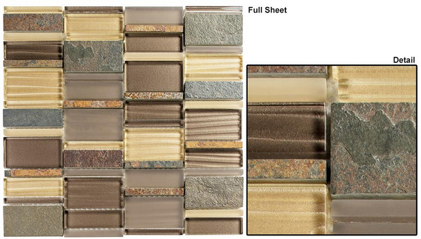 Corrugated Scape - CSS-125 Urban Pollen - Multi Size Offset Glass & Natural Stone Mosaic Tile