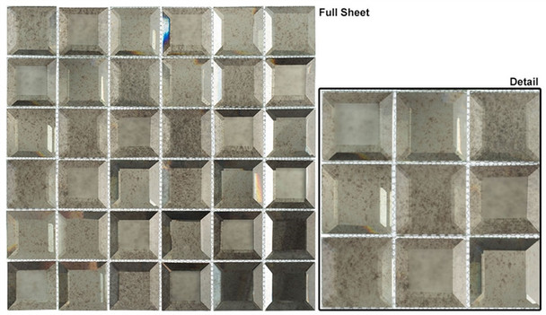 Checkers CKR-115 Lifting Fog - 2 X 2 Beveled Mirror Glass Mosaic Tile