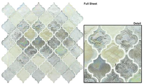 Dentelle Arabesque Glass Tile Mosaic - DTL-3004 April Shower - Moroccan Style Glass - Iridescent Gloss