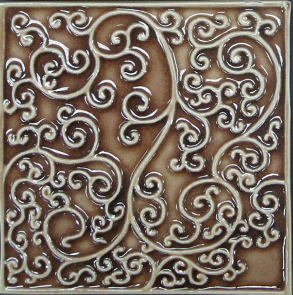 Bristol Studios - Nouveau - G2448 Nantes Cannalle Relief Deco - 6X6 Hand Crafted Decorative Tile - $3.95
