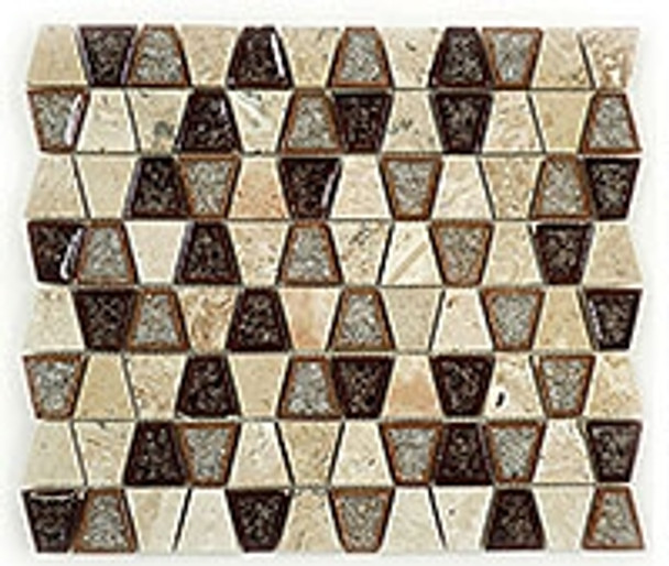 Supplier: Tile Store Online, Name: Tranquil Trapezoid TS-935, Color: Midday Aubergine, Type: Crackle Jewel Glass & Stone Mosaic Tile, Size: 11.5X11.5