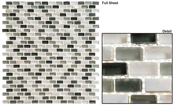 Americana - AMER-396 Malt Shop - 3/4 X 3/8 Mini Brick Subway Glass & Stone Mosaic Tile