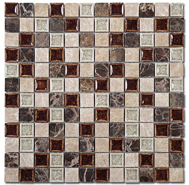 Supplier: Tile Store Online, Name: Tranquil TS-901, Color: Coffee & Cream, Type: Crackle Jewel Glass & Stone Mosaic Tile, Size: 1X1