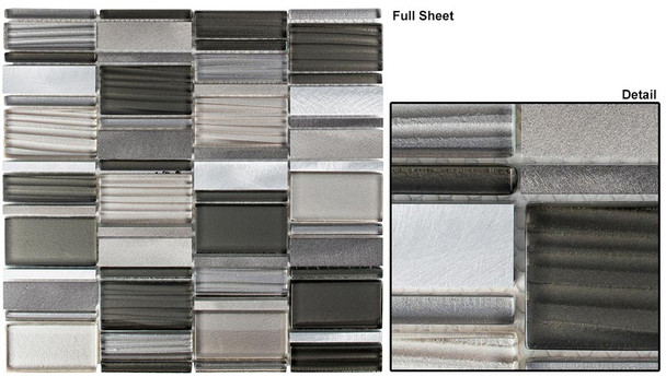 Corrugated Scape - CSS-128 Dusky Scenery - Multi Size Offset Glass, Natural Stone, & Metal Mosaic Tile