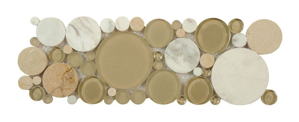 Supplier: Tile Store Online, Name: B700, Color: Olivine,Type: Round Glass & Stone Mosaic Listello Border, Size: 4X12