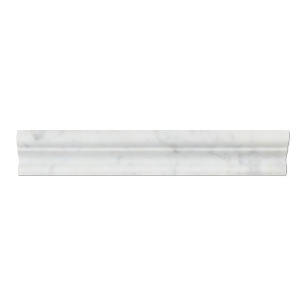 Italian White Carrara Marble - 2 X 12 Crown Mercer Chair Rail Ogee Molding - Honed Finish