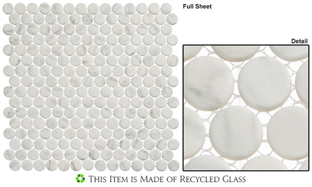 Polka Dots - PLK61 Jasmine Delight - Penny Round Recycled Glass Mosaic