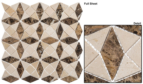 Divine Windows - DVW-341 Jerusalem Mount - Geometric Pattern Natural Stone Mosaic Tile