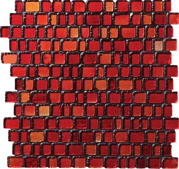 Daltile Fanfare Jewel Tide Glass Mosaic - JT08 Sunset Path - 3/4 X Random Tumbled Glossy Sea Glass Style