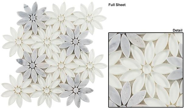 Bouquette - BQT-675 Daisy Field - Flower Pattern Mix of Glass, Stone, & Metal Mosaic Tile - Sample