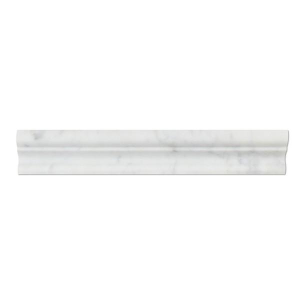 Italian White Carrara Marble - 2 X 12 Crown Mercer Chair Rail Ogee Molding - Polished Finish