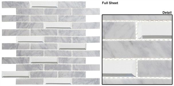 Beveled Castle - BCA-651 Whitecliff Hall - Random Brick Linear Beveled Mirror Glass & Natural Stone Mosaic Tile