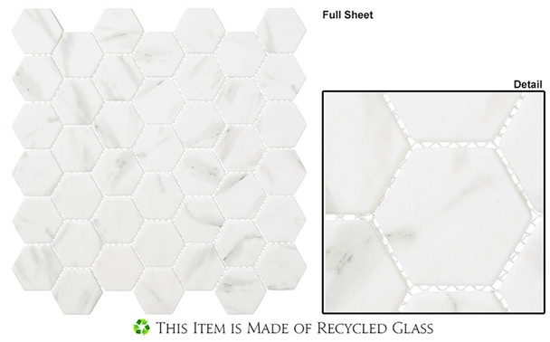 """Antiquities - ANQ 52 Egyptian Ivory - 2"""" Hexagon Marble Look Recycled Glass Tile Mosaic - Sample"""