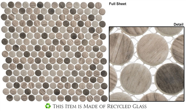 Polka Dots - PLK63 Southern Trail - Penny Round Recycled Glass Mosaic