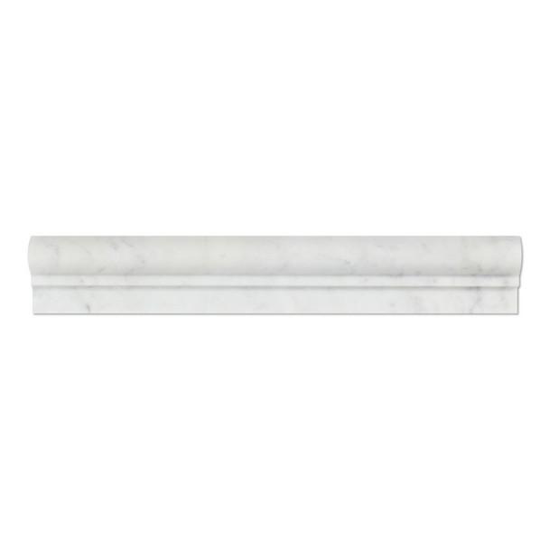 Italian White Carrara Marble - 2 X 12 Chair Rail Ogee Molding Single Step - Honed Finish