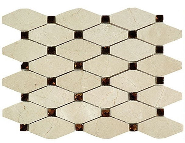 Supplier: Tile Store Online, Name: Imperial Rhomboid IS-4, Color: Royal Egret,Type: Glass & Stone Mosaic Tile, Size: 11.75X11.75
