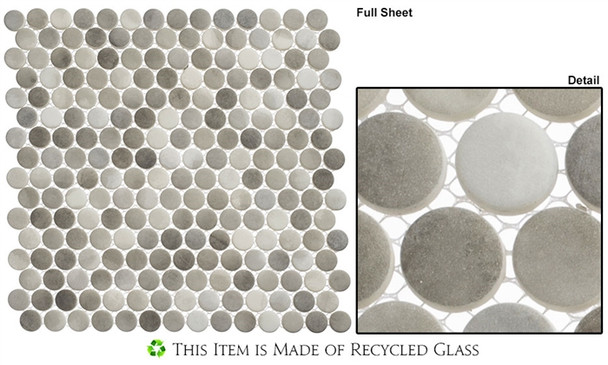 Polka Dots - PLK64 Enlightened Sky - Penny Round Recycled Glass Mosaic