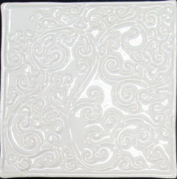 Bristol Studios - Nouveau - G2449 Nantes Blanc White Relief Deco - 6X6 Hand Crafted Decorative Tile - $3.95