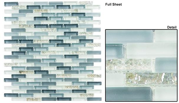 Jewel - J-601 Moon Glitter - 3/8 X 1-5/8 Mini Brick Subway Mix Glass Tile Mosaic