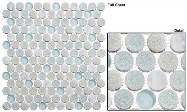 """Ceremonial - CRM-475 Dawn Celebration - 1"""" Round Crackle Jewel Glass Glossy & Frosted Foil Glass Mosaic Tile - Sample"""