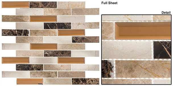 Beveled Castle - BCA-653 Carriage House - Random Brick Linear Beveled Mirror Glass & Natural Stone Mosaic Tile - Sample