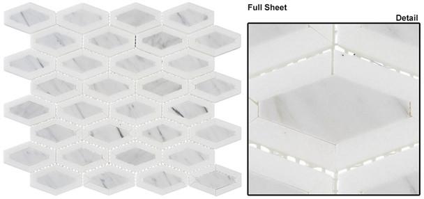 Garden Party - GDN-133 Coconut White - Long Diamond Shape Pattern Marble Stone Mosaic