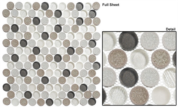 """Ceremonial - CRM-476 Local Gala - 1"""" Round Crackle Jewel Glass Glossy & Frosted Foil Glass Mosaic Tile"""