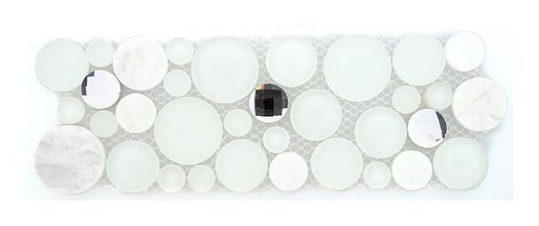 Symphony Bubble Round Mosaic Border - SLS1610 Soap Suds - Glass & Natural Stone Marble Listello Border - Sample