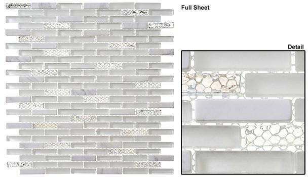 Jewel - J-603 White Diamond - 3/8 X 1-5/8 Mini Brick Subway Mix Glass Tile Mosaic