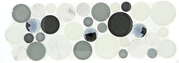 Symphony Bubble Round Mosaic Border - SLS-1612 Grey Fizz - Glass & Natural Stone Marble Listello Border - Sample