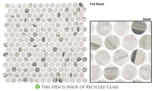 Pixels - PX-781 Dusted Ash - Penny Round Recycled Glass Mosaic
