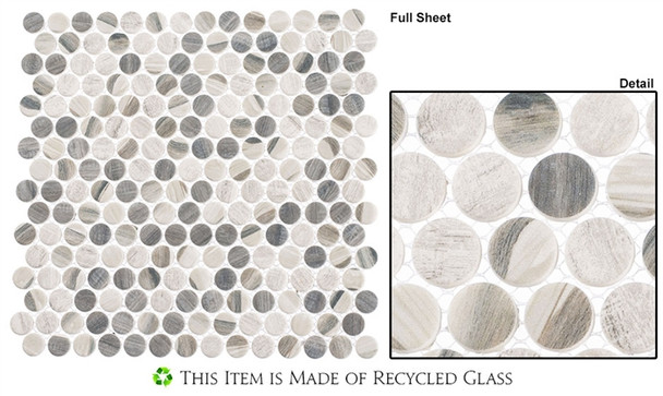 Pixels - PX-782 Chrome Arc - Penny Round Recycled Glass Mosaic
