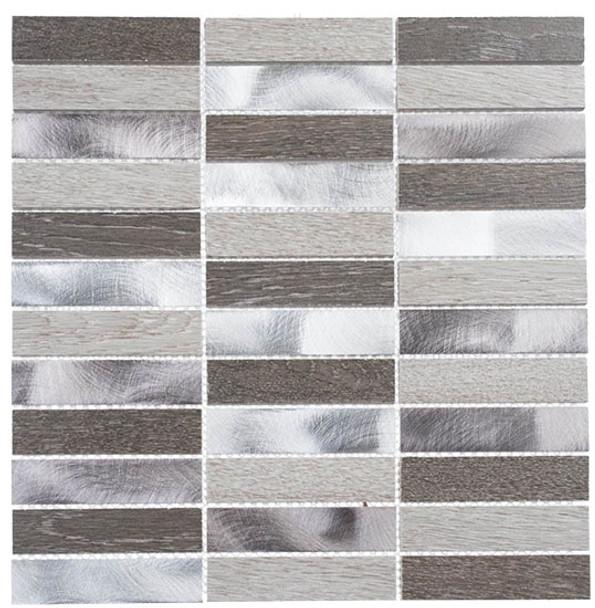Maison De Luxe Series - MDX-2701 Dubai Luxury - Brick Shape Porcelain Wood & Metal Mosaic Tile - Stacked