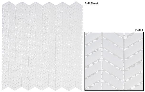 Covered Bridges - CVB-362 Atrium White - Mini Chevron Pattern Natural Stone Mosaic Tile - Sample