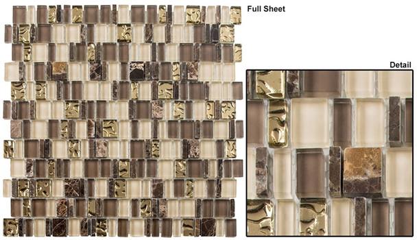 Enchanted Flavors - EF-613 Divine Strudel - Random Offset Multi Size Glass & Natural Stone Mosaic Tile