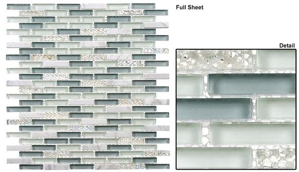 Jewel - J-605 Sky Topaz - 3/8 X 1-5/8 Mini Brick Subway Mix Glass Tile Mosaic