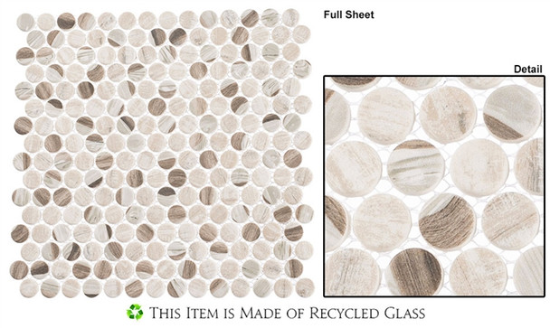 Pixels - PX-783 Speckled Taupe - Penny Round Recycled Glass Mosaic