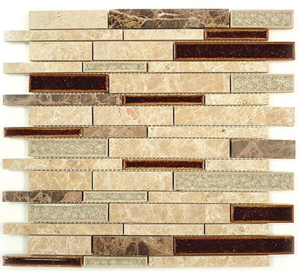 Supplier: Tile Store Online, Name: Tranquil Random Brick Linear TS-943, Color: El Dorado, Type: Crackle Jewel Glass & Stone Mosaic Tile, Size: 12X13.5