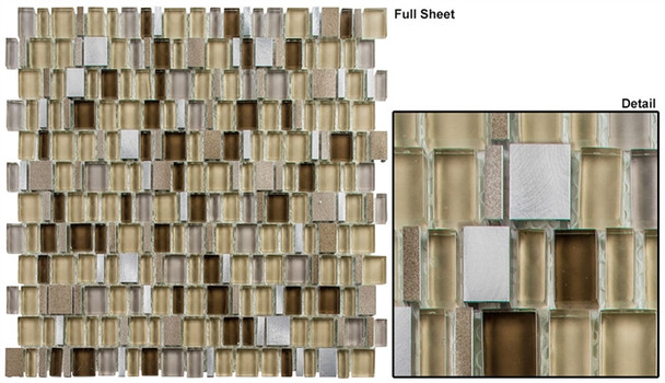 Enchanted Flavors - EF-614 Morning Granola - Random Offset Multi Size Glass & Natural Stone Mosaic Tile