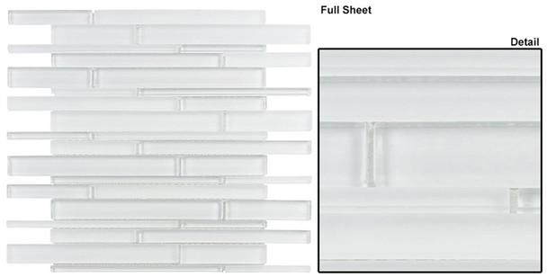 Cane - CN25 Super White - Random Brick Linear Glass Tile Mosaic